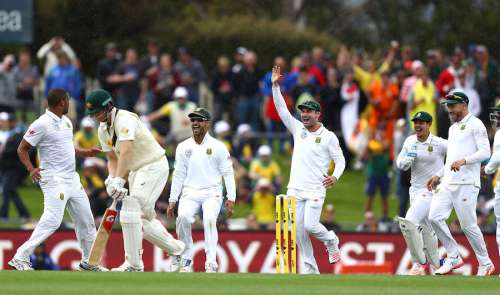 Vernon Philander celebrates after taking a wicket