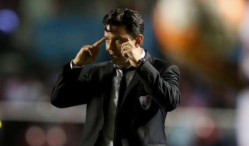 SAO PAULO, BRAZIL - APRIL 13:  Head coach Marcelo Gallardo of River Plate looks on during a match between Sao Paulo and River Plate as part of Group 1 of Copa Bridgestone Libertadores at Morumbi Stadium on April 13, 2016 in Sao Paulo, Brazil.  (Photo by Friedemann Vogel/Getty Images)