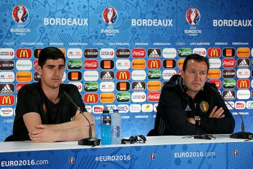 BORDEAUX, FRANCE - JUNE 17:  In this handout image provided by UEFA, Belgium's goalkeeper Thibaut Courtois and his head coach Marc Wilmots look on during a press conference at Matmut Stadium on June 17, 2016 in Bordeaux, France . (Handout/UEFA via Getty Images)