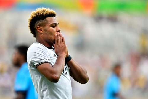 BELO HORIZONTE, BRAZIL - AUGUST 10:  Serge Gnabry of Germany reacts during the Men's First Round Football Group C match between Germany and Fiji at Mineirao Stadium on August 10, 2016 in Belo Horizonte, Brazil.  (Photo by Pedro Vilela/Getty Images)