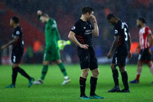 SOUTHAMPTON, ENGLAND - NOVEMBER 19: James Milner of Liverpool reacts to the final whistle during the Premier League match between Southampton and Liverpool at St Mary's Stadium on November 19, 2016 in Southampton, England.  (Photo by Clive Rose/Getty Images)