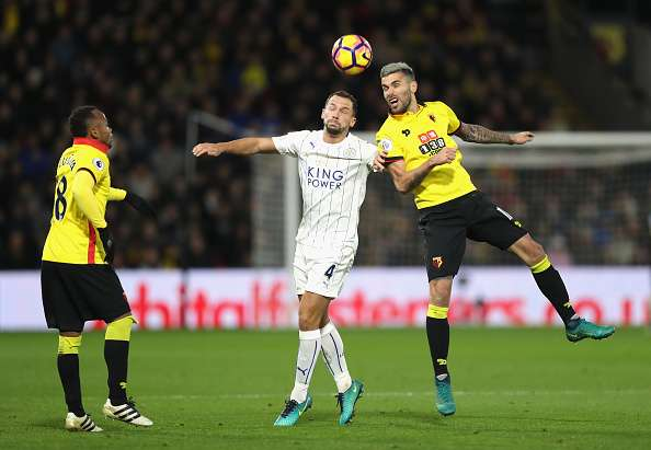 WATFORD, ENGLAND - NOVEMBER 19: Daniel Drinkwater of Leicester City (L) and Valon Behrami of Watford (R) battle to win a header during the Premier League match between Watford and Leicester City at Vicarage Road on November 19, 2016 in Watford, England.  (Photo by Christopher Lee/Getty Images)