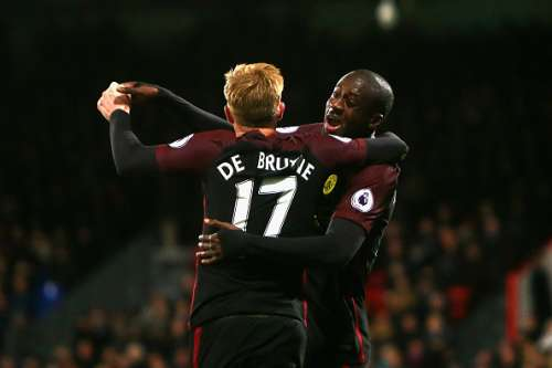 LONDON, ENGLAND - NOVEMBER 19: Yaya Toure of Manchester City (R) celebrates scoring his sides second goal with Kevin De Bruyne of Manchester City (L) during the Premier League match between Crystal Palace and Manchester City at Selhurst Park on November 19, 2016 in London, England.  (Photo by Charlie Crowhurst/Getty Images)