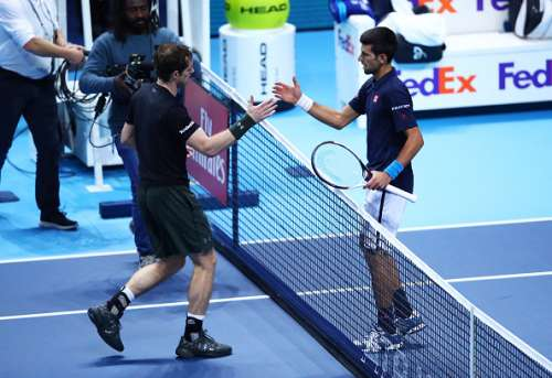 LONDON, ENGLAND - NOVEMBER 20:  Champion Andy Murray of Great Britain is congratulated by Novak Djokovic of Serbia following the Singles Final against Novak Djokovic of Serbia at the O2 Arena on November 20, 2016 in London, England.  (Photo by Clive Brunskill/Getty Images)