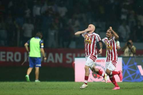 Iain Hume after scoring in the reverse fixture (Picture Courtesy ISL)