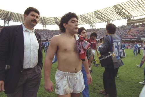 21 Oct 1990:  Portrait of Diego Maradona of Napoli after a match against AC Milan at the San Paolo Stadium in Naples, Italy. \ Mandatory Credit: Simon  Bruty/Allsport