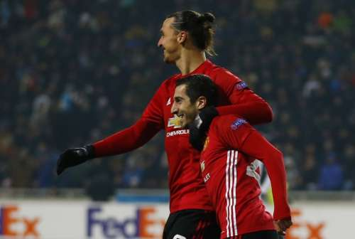 Soccer Football - FC Zorya Luhansk v Manchester United - UEFA Europa League Group Stage - Group A - Chornomorets Stadium, Odessa, Ukraine - 8/12/16 Manchester United's Henrikh Mkhitaryan celebrates scoring their first goal with Zlatan Ibrahimovic Action Images via Reuters / Peter Cziborra Livepic