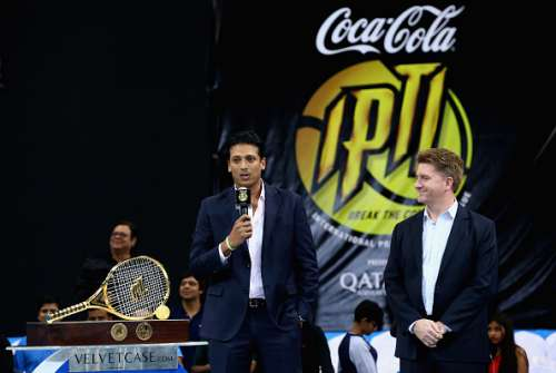 DUBAI, UNITED ARAB EMIRATES - DECEMBER 13:  Mahesh Bhupathi Chairman and Founder of the IPTL makes a speach on stage before the trophy is presented to the Indian Aces during the Coca-Cola International Premier Tennis League fourth leg at the Hamdan Sports Complex, December 13, 2014 in Dubai.  (Photo by Clive Brunskill/Getty Images for IPTL 2014)