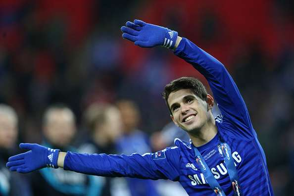 LONDON, ENGLAND - MARCH 01: Oscar of Chelsea celebrates after the Capital One Cup Final match between Chelsea and Tottenham Hotspur at Wembley Stadium on March 1, 2015 in London, England.  (Photo by Clive Mason/Getty Images)