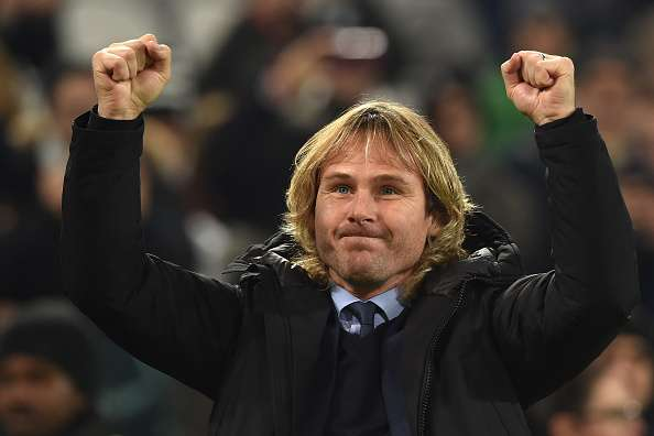 TURIN, ITALY - DECEMBER 13:  Juventus FC vice president Pavel Nedved salutes the fans prior to the Serie A match betweeen Juventus FC and ACF Fiorentina at Juventus Arena on December 13, 2015 in Turin, Italy.  (Photo by Valerio Pennicino/Getty Images)