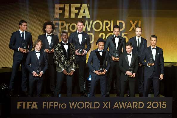 ZURICH, SWITZERLAND - JANUARY 11: The FIFA/FIFPro World XI for 2015 receive their awards during the FIFA Ballon d