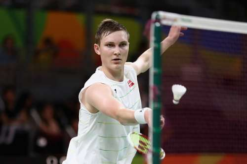 RIO DE JANEIRO, BRAZIL - AUGUST 20:  Viktor Axelson of Denmark competes against Dan Lin of China during the Men's Singles Badminton Bronze Medal match on Day 15 of the Rio 2016 Olympic Games at Riocentro - Pavilion 4 on August 20, 2016 in Rio de Janeiro, Brazil.  (Photo by Sean M. Haffey/Getty Images)
