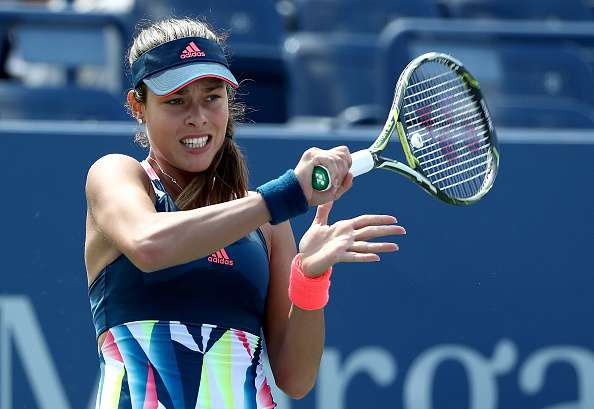 NEW YORK, NY - AUGUST 30: Ana Ivanovic of Serbia returns a shot to Denisa Allertova of Czech Republic during her first round Women