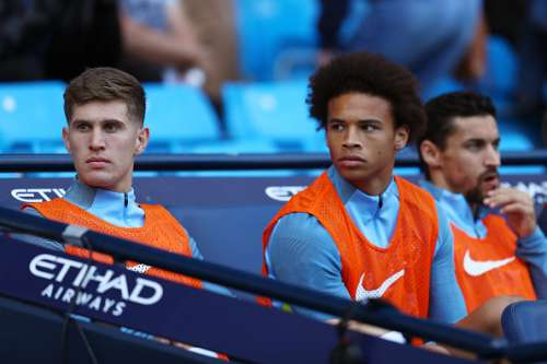 MANCHESTER, ENGLAND - SEPTEMBER 17: Leroy Sane of Manchester City looks on from the bench during the Premier League match between Manchester City and AFC Bournemouth at the Etihad Stadium on September 17, 2016 in Manchester, England.  (Photo by Michael Steele/Getty Images)