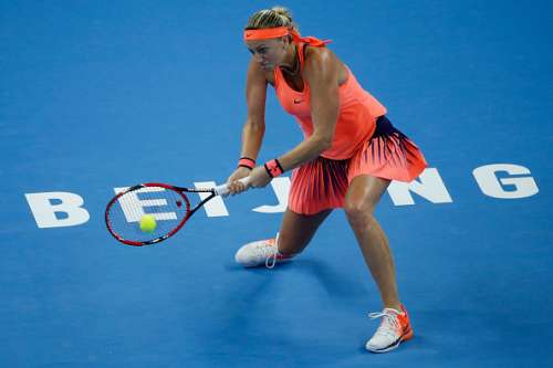 BEIJING, CHINA - OCTOBER 07:  Petra Kvitova of the Czech Republic returns a shot against Madison Keys of the United States during her Women's Singles Quarter Finals match on day seven of the 2016 China Open at the China National Tennis Centre on October 7, 2016 in Beijing, China.  (Photo by Etienne Oliveau/Getty Images)