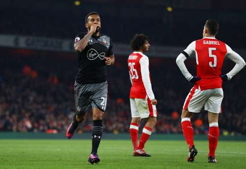 LONDON, ENGLAND - NOVEMBER 30: Ryan Bertrand of Southampton celebrates after scoring his team's second goal of the game during the EFL Cup quarter final match between Arsenal and Southampton at the Emirates Stadium on November 30, 2016 in London, England.  (Photo by Clive Rose/Getty Images)
