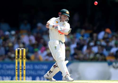 BRISBANE, AUSTRALIA - DECEMBER 17:  David Warner of Australia is caught out after playing this shot during day three of the First Test match between Australia and Pakistan at The Gabba on December 17, 2016 in Brisbane, Australia.  (Photo by Bradley Kanaris/Getty Images)