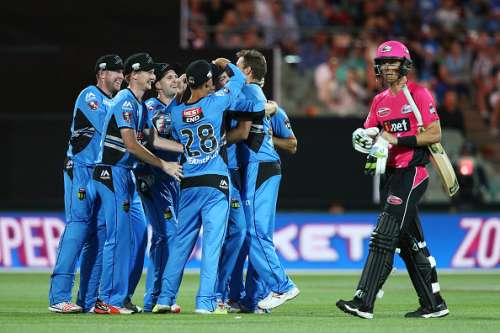ADELAIDE, AUSTRALIA - DECEMBER 31: Johan Botha of the Sydney Sixers leaves the field after getting out to Ben Laughlin of the Adelaide Strikers during the Big Bash League match between the Adelaide Strikers and Sydney Sixers at Adelaide Oval on December 31, 2016 in Adelaide, Australia.  (Photo by Morne de Klerk/Getty Images)