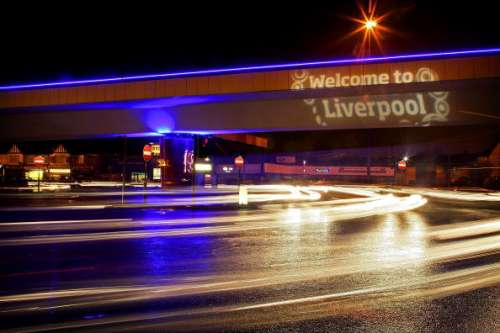 LIVERPOOL, UNITED KINGDOM - JANUARY 04: The Rocket fly over at the end of the M62 motorway has been given a night-time lighting makeover to welcome visitors to Liverpool as it celebrates European City of Culture 2008. January 4, 2008. The city has invested  millions of pounds in it's events as European Capital of Culture in 2008.  (Photo by Christopher Furlong/Getty Images)