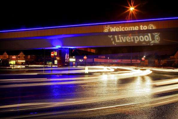 LIVERPOOL, UNITED KINGDOM - JANUARY 04: The Rocket fly over at the end of the M62 motorway has been given a night-time lighting makeover to welcome visitors to Liverpool as it celebrates European City of Culture 2008. January 4, 2008. The city has invested  millions of pounds in it