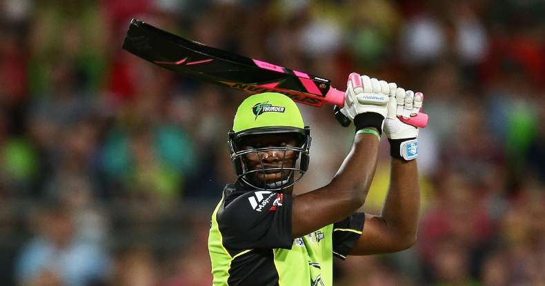 Andre Russell with the black and pink bat