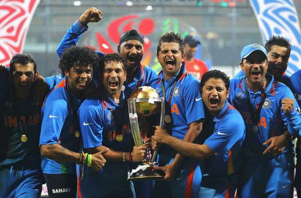 India celebrate the 2011 World Cup win