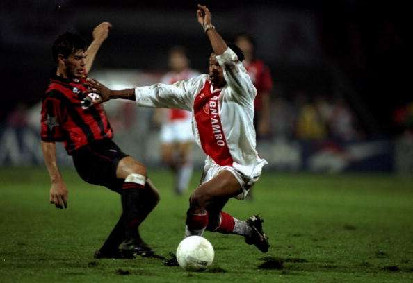 1995:  Edgar Davids of Aiax tackles Zvonmir Boban of Milan during the Champions League at the Amsterdam Arena in Amsterdam, Netherlands. Ajax won the game 2-0. \ Mandatory Credit: Allsport UK /Allsport