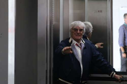 Formula One - F1 - Brazilian Grand Prix - Circuit of Interlagos, Sao Paulo, Brazil - 13/11/2016 - Bernie Ecclestone, Chief Executive of the Formula One Group, rides in an elevator during the race. REUTERS/Nacho Doce
