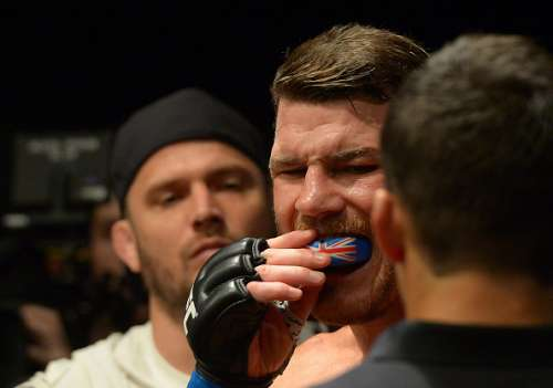 INGLEWOOD, CA - JUNE 04: Michael Bisping gets ready to enter the cage for his middleweight championship bout at UFC 199 at The Forum on June 4, 2016 in Inglewood, California. (Photo by Jayne Kamin-Oncea/Getty Images)