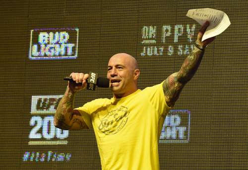 LAS VEGAS, NV - JULY 08:  Commentator Joe Rogan speaks during weigh-ins for UFC 200 at T-Mobile Arena on July 8, 2016 in Las Vegas, Nevada.  (Photo by Ethan Miller/Getty Images)