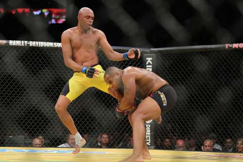 LAS VEGAS, NV - JULY 9: Anderson Silva celebrates after his fight against Daniel Cornier (R) during the UFC 200 event at T-Mobile Arena on July 9, 2016 in Las Vegas, Nevada. (Photo by Rey Del Rio/Getty Images)