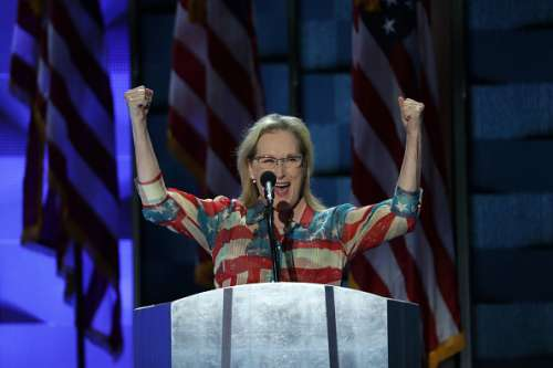 PHILADELPHIA, PA - JULY 26: Actress Meryl Streep arrives on stage to deliver remarks on the second day of the Democratic National Convention at the Wells Fargo Center, July 26, 2016 in Philadelphia, Pennsylvania. Democratic presidential candidate Hillary Clinton received the number of votes needed to secure the party's nomination. An estimated 50,000 people are expected in Philadelphia, including hundreds of protesters and members of the media. The four-day Democratic National Convention kicked off July 25. (Photo by Alex Wong/Getty Images)