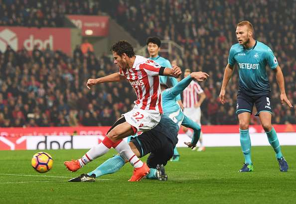STOKE ON TRENT, ENGLAND - OCTOBER 31:  Ramadan Sobhi of Stoke City (32) shoots at goal which leads to an own goal by Alfie Mawson of Swansea City (not pictured) for their second goal during the Premier League match between Stoke City and Swansea City at Bet365 Stadium on October 31, 2016 in Stoke on Trent, England.  (Photo by Michael Regan/Getty Images)