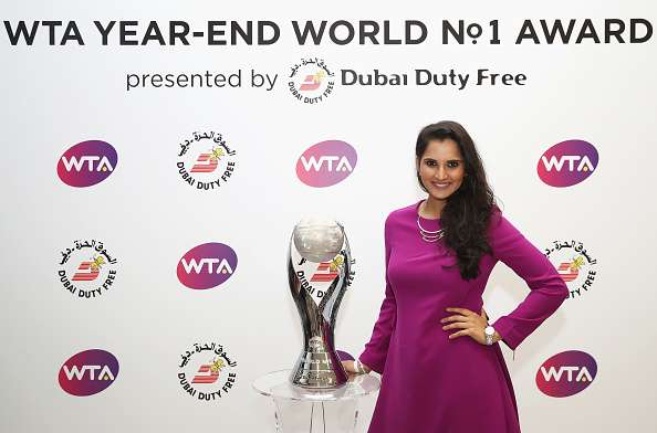 SINGAPORE - OCTOBER 25:  WTA Year-End World No.1 Doubles player Sania Mirza of India poses during day 3 of the BNP Paribas WTA Finals Singapore at Singapore Sports Hub on October 25, 2016 in Singapore.  (Photo by Julian Finney/Getty Images)