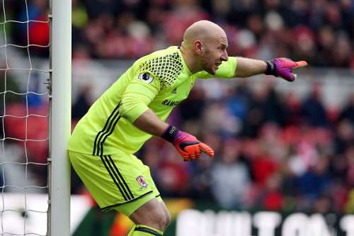 MIDDLESBROUGH, ENGLAND - JANUARY 02: Brad Guzan of Middlesbrough gives his team instructions during the Premier League match between Middlesbrough and Leicester City at Riverside Stadium on January 2, 2017 in Middlesbrough, England.  (Photo by Nigel Roddis/Getty Images)