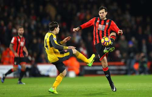 BOURNEMOUTH, ENGLAND - JANUARY 03: Charlie Daniels of AFC Bournemouth and Hector Bellerin of Arsenal compete for the ball during the Premier League match between AFC Bournemouth and Arsenal at Vitality Stadium on January 3, 2017 in Bournemouth, England.  (Photo by Warren Little/Getty Images)
