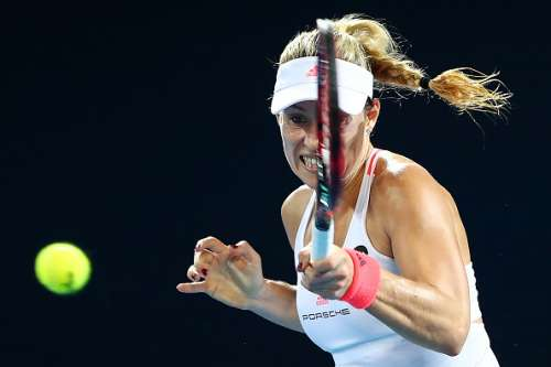 BRISBANE, AUSTRALIA - JANUARY 05:  Angelique Kerber of Germany plays a forehand during her quarter final match against Elina Svitolina of the Ukraine during day five of the 2017 Brisbane International at Pat Rafter Arena on January 5, 2017 in Brisbane, Australia.  (Photo by Chris Hyde/Getty Images)