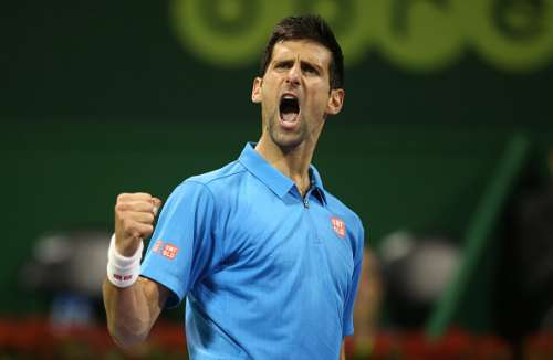 DOHA, QATAR - JANUARY 7 : Novak Djokovic of Serbia reacts after winning a point against Andy Murray of Great Britain during the men's singles final match of the ATP Qatar Open tennis competition held at the Khalifa International Tennis Complex on January 7, 2017 in Doha, Qatar. (Photo by AK BijuRaj/Getty Images)