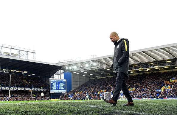 LIVERPOOL, ENGLAND - JANUARY 15:  Josep Guardiola, Manager of Manchester City looks on during the Premier League match between Everton and Manchester City at Goodison Park on January 15, 2017 in Liverpool, England.  (Photo by Michael Regan/Getty Images)
