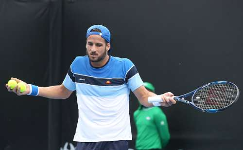 MELBOURNE, AUSTRALIA - JANUARY 17:  Feliciano Lopez of Spain reacts in his first round match against Fabio Foginni of Italy on day two of the 2017 Australian Open at Melbourne Park on January 17, 2017 in Melbourne, Australia.  (Photo by Pat Scala/Getty Images)