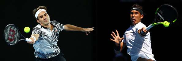 FILE PHOTO (EDITORS NOTE: COMPOSITE OF TWO IMAGES - Image numbers (L) 632164686 and 632254852) In this composite image a comparision has been made between Roger Federer of Switzerland (L) and Rafael Nadal of Spain who face each other in the 2017 Australian Open Men