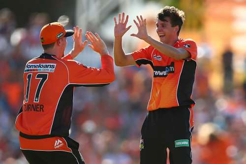PERTH, AUSTRALIA - JANUARY 28:  Ashton Turner and Jhye Richardson of the Scorchers celebrate the wickt of Jordan Silk of the Sixers during the Big Bash League match between the Perth Scorchers and the Sydney Sixers at WACA on January 28, 2017 in Perth, Australia.  (Photo by Paul Kane/Getty Images)