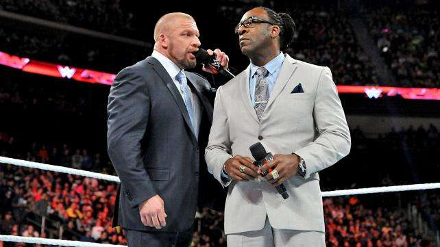 Booker T and Triple H in the ring on Monday Night Raw