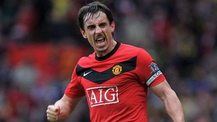 Neville won a staggering 20 trophies with Manchester United