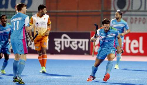 Ramandeep Singh celebrates after scoring a field goal against Kalinga Lancers in the Coal India Hockey India League game at Bhubhaneshwar on January 29, 2017