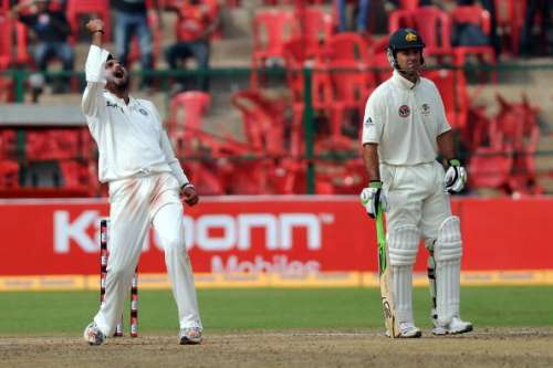 BANGALORE, INDIA - OCTOBER 12:  Harbhajan Singh of India celebrates the wicket of Marcus North during day four of the Second Test match between India and Australia at M.Chinnaswamy Stadium on October 12, 2010 in Bangalore, India.  (Photo by Pal Pillai/Getty Images)