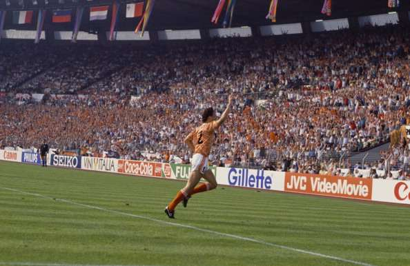 Dutch footballer Marco van Basten having scored the first of his three goals against England during a European Championship match in Dusseldorf, 15th June 1988. Holland won 1-3. (Photo by David Cannon/Getty Images)