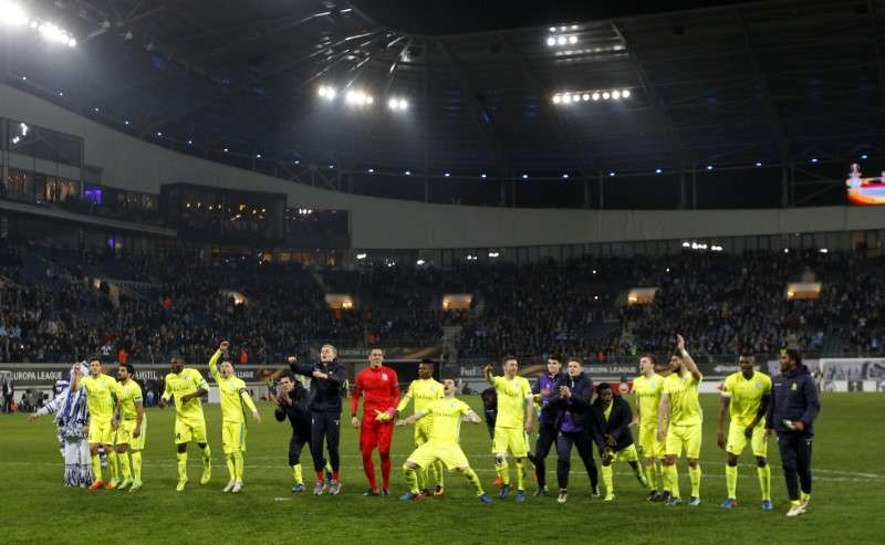 Football Soccer - K.A.A. Gent v Tottenham Hotspur - UEFA Europa League Round of 32 First Leg - Ghelamco Arena, Ghent, Belgium - 16/2/17 Gent players celebrate after the game Action Images via Reuters / Paul Childs Livepic