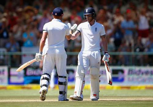 CAPE TOWN, SOUTH AFRICA - JANUARY 03:  Jonny Bairstow of England and Ben Stokes of England support each other in their partnership during day two of the 2nd Test at Newlands Stadium on January 3, 2016 in Cape Town, South Africa.  (Photo by Julian Finney/Getty Images)