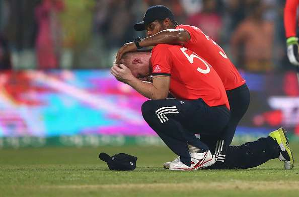 KOLKATA, WEST BENGAL - APRIL 03:  Ben Stokes of England looks dejected after West Indies scored the winning runs during the ICC World Twenty20 India 2016 Final match between England and West Indies at Eden Gardens on April 3, 2016 in Kolkata, India.  (Photo by Ryan Pierse/Getty Images)